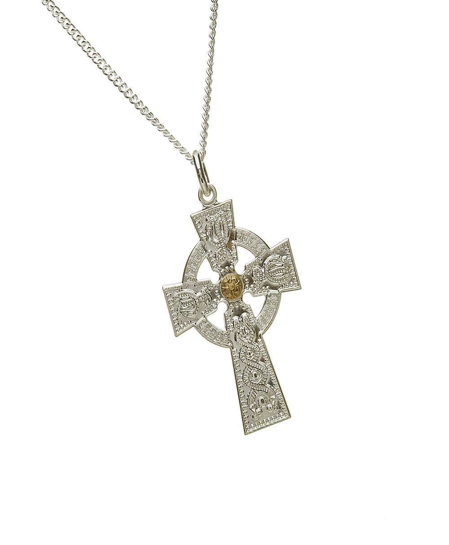 Gents Celtic Cross with Rare Irish Gold Boss
