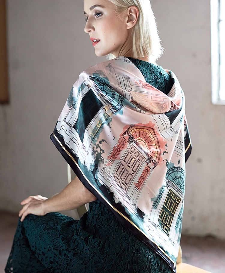 Georgian Bottle Blush Silk Scarf