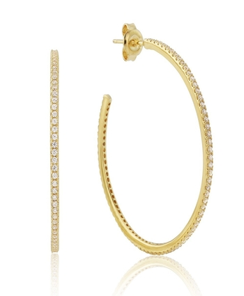 Sterling Silver Yellow 40mm CZ Hoops