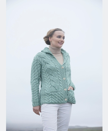 Ladies Buttoned Cable Cardigan