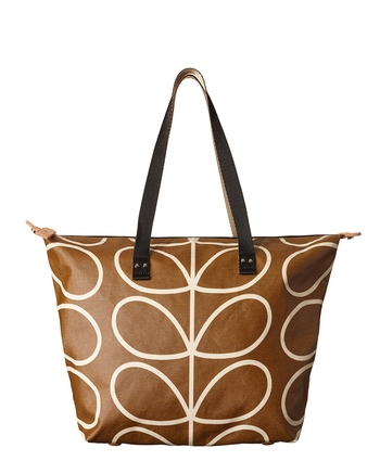 Giant Linear Stem Print Zip Shopper