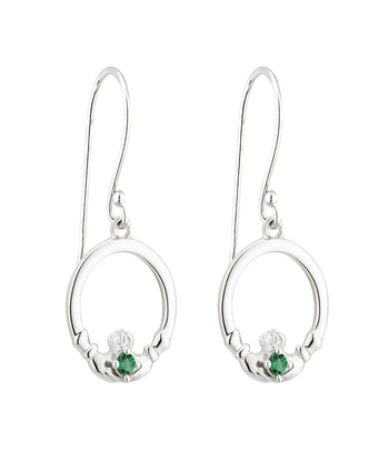 S/S GREEN CRYSTAL CLADDAGH DROP EARRINGS