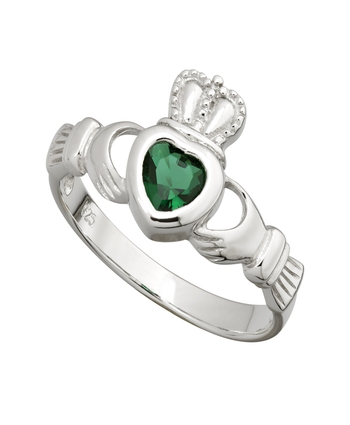 Sterling Silver Green Crystal Claddagh Ring