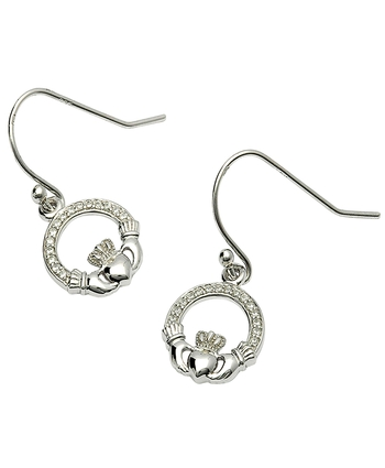 Silver Stone Set Claddagh Earings