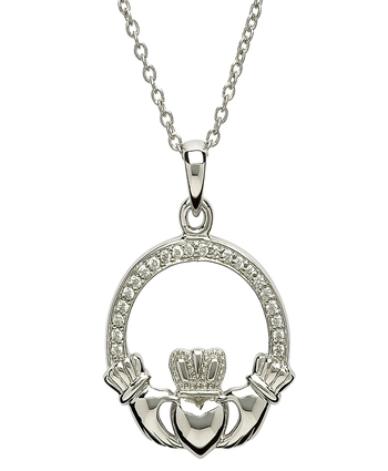 Silver Stone Set Claddagh Pendant