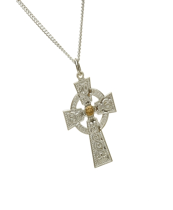 Arda Gents Celtic Cross with Rare Irish Gold Boss