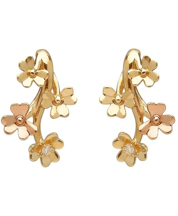 Diamond Set Gold Love Shamrock Stud Earings