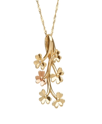Diamond Set Gold Shamrock Pendant