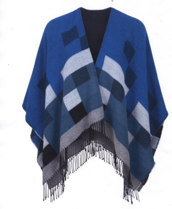 Hourihan Cape with Fringe Blue Tones