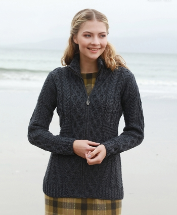 Zipper Cardigan with Full Neck