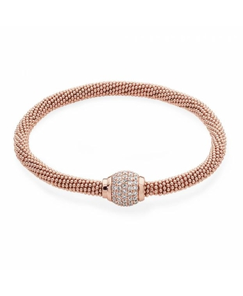 BUBBLE BANGLE WITH CYLINDRICAL PENDANT - ROSE GOLD