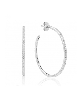 Waterford Sterling Silver 40mm CZ Hoops