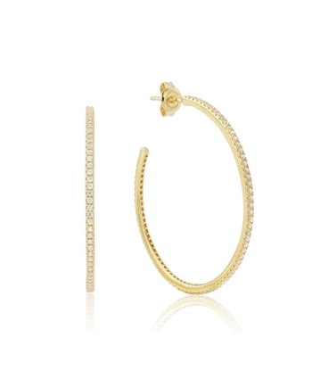 Waterford Sterling Silver Yellow 40mm CZ Hoops