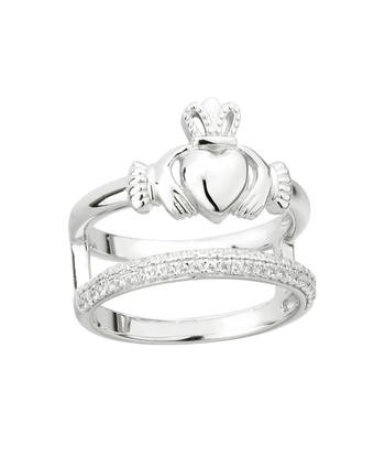DOUBLE CLADDAGH & DIAMOND BAND RING