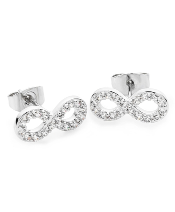 INFINITY STUD EARRINGS - STONE SET