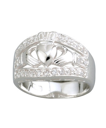 Wide Claddagh CZ Band Sterling Silver