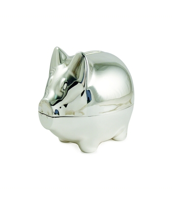 Silver Piggy Money Bank