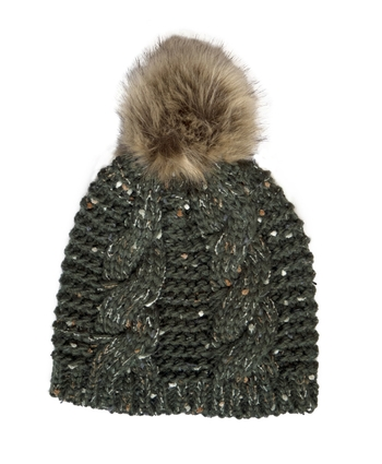 Bottle Wool Fur Bobble Hat