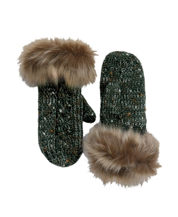 BOTTLE SPECKLED WOOL FUR MITTENS