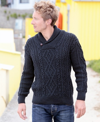 Mens Shawl Neck Aran Sweater