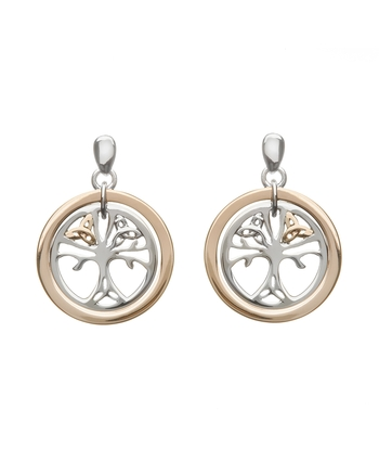 Tree of Life Earrings with Rare Irish Gold