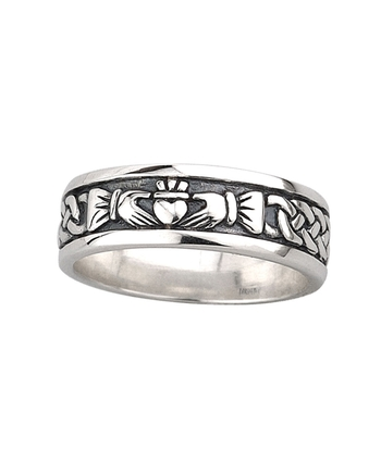 OXIDISED CLADDAGH BAND