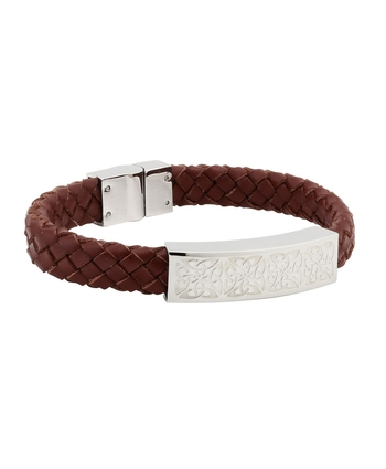 Padded STEEL BROWN LEATHER BRACELET