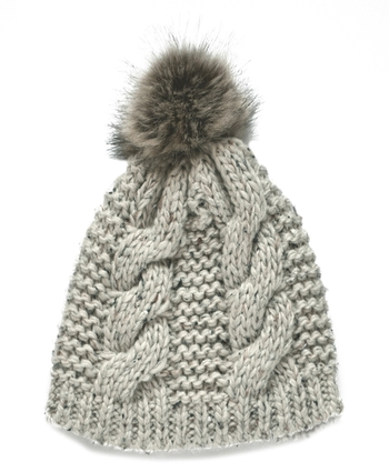 OATMEAL SPECKLED WOOL FUR BOBBLE HAT