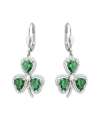 Solvar Fáilte S/S GREEN CZ SHAMROCK DROP EARRINGS