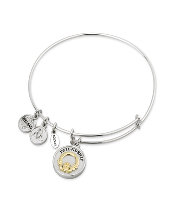 Solvar Fáilte SILVER & GP CLADDAGH EXPANDING BANGLE