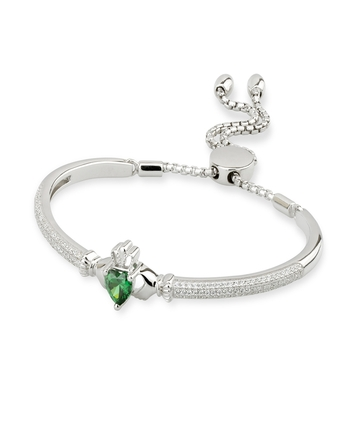 Solvar Fáilte S/S CZ CLADDAGH DRAW STRING BANGLE
