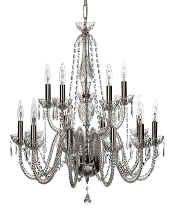 Galway Crystal Leenane Fifteen Arm Chandelier - 2 Tier