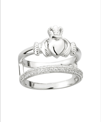 CZ DOUBLE BAND CLADDAGH RING Sterling Silver