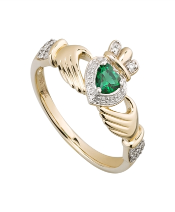 Solvar Gold 14K DIA & CREATED EMERALD CLADDAGH RING