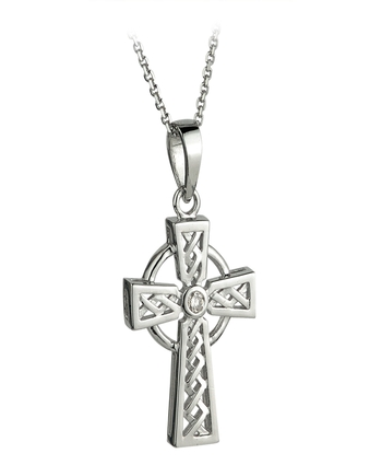 Solvar Gold 14K WHITE DIAMOND CELTIC CROSS