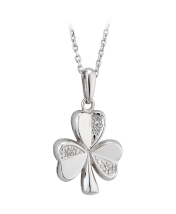 Solvar Gold 14K WHITE DIAMOND SHAMROCK PENDANT