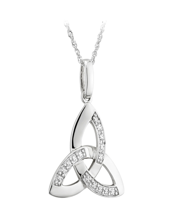 14K WHITE Gold & DIAmond TRINITY KNOT PENDANT