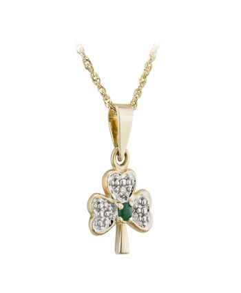 DIAMOND  & EMERALD SHAMROCK PENDANT