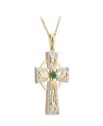 Solvar Gold Small 14K DIAMOND & EM SMALL CROSS PENDANT