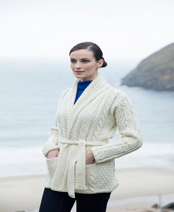 Shawl Collared Belted Cardi