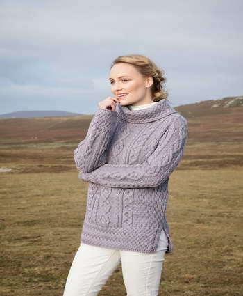 Ladies Vented Roll Neck Sweater