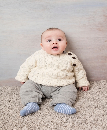 Handknit Baby Button Crew Neck