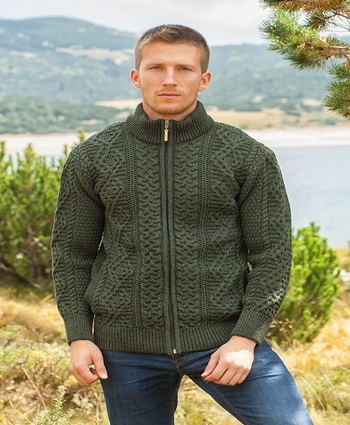Mens Full Zip Aran