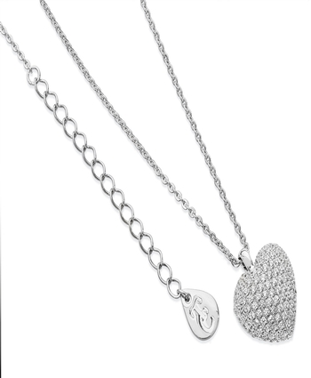 CUSHION PAVE HEART PENDANT SILVER