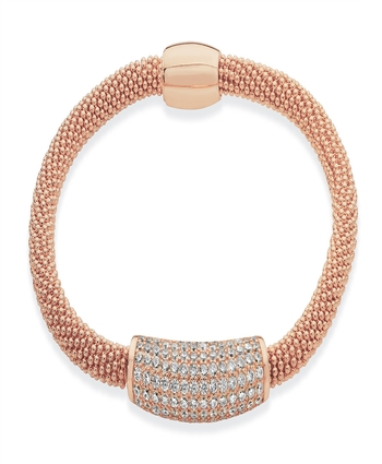 BUBBLE BANGLE WITH DIAMANTE WRAP CLASP - ROSE GOLD