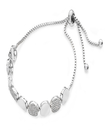 PLAIN & PAVE PEBBLE BRACELET - SILVER