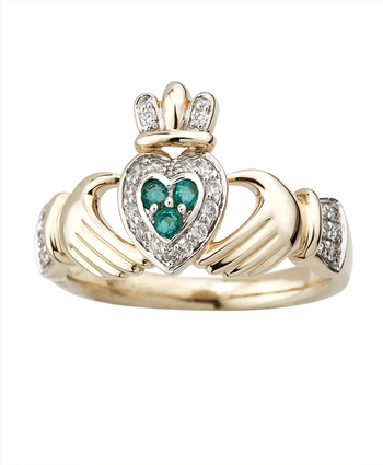 14K DIAMOND & EMERALD CLADDAGH RING