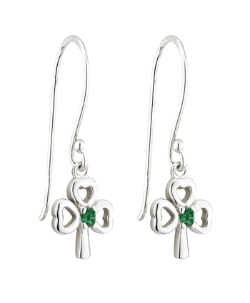 S/S GREEN CRYSTAL SHAMROCK DROP EARRINGS