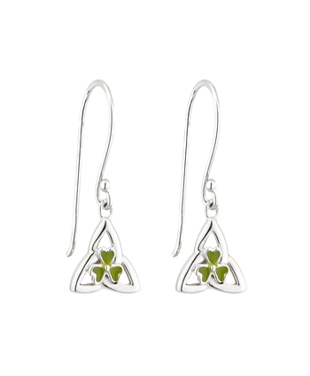 S/S ENAMEL SHAMROCK TRINITY DROP EARRINGS