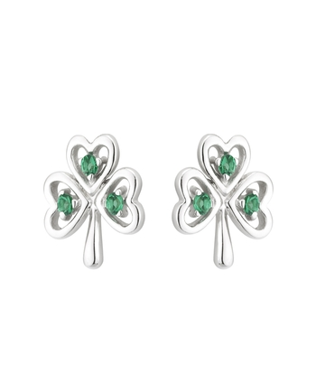 S/S CRYSTAL SHAMROCK STUD EARRINGS